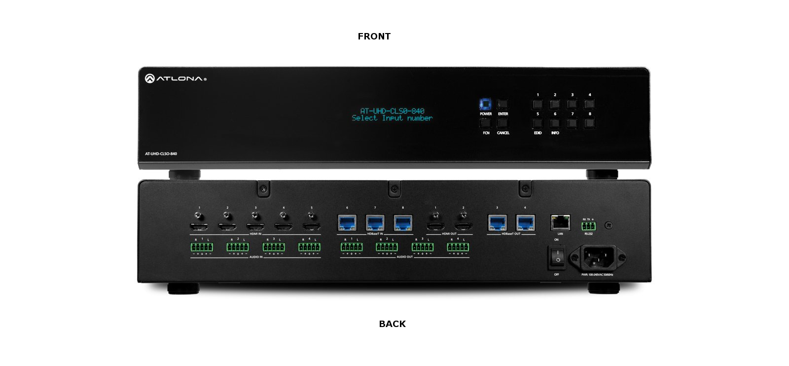 4K/UHD 8×4 HDBaseT and HDMI Matrix Switcher with PoE