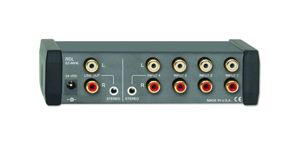 4x1 Stereo Line-Level Audio Mixer with International Power Supply