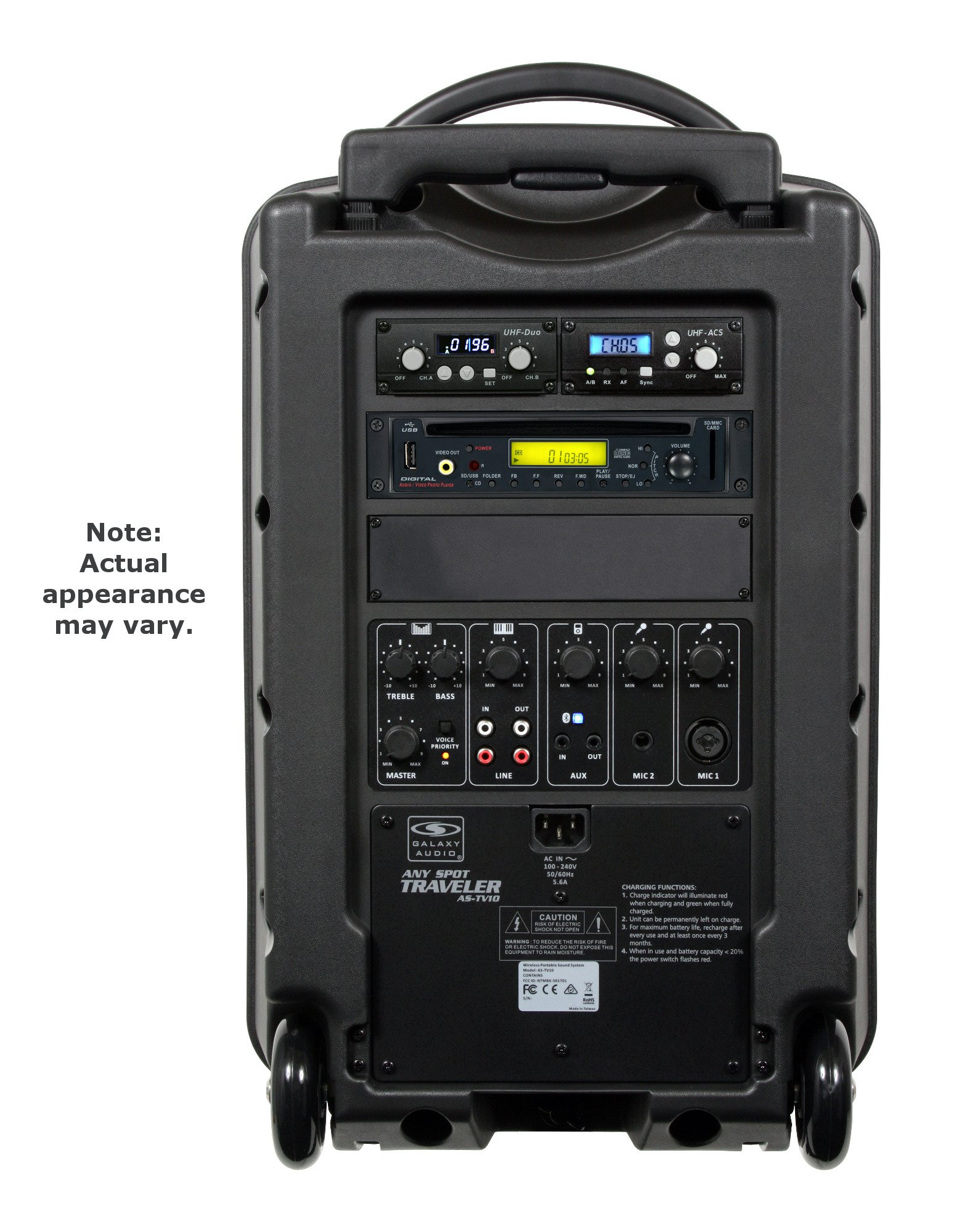 Any Spot Traveler Sound System with 3 Wireless Receivers, 1 Handheld & 2 Lapel Mics