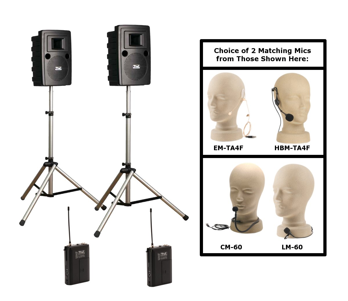 Portable Sound System with 2 Bodypack Transmitters & Mics