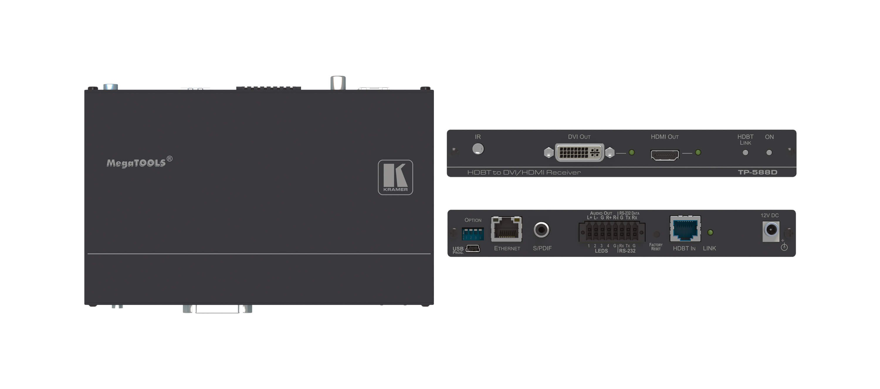 HDMI/DVI, Audio & Data over HDBaseT Twisted Pair Receiver