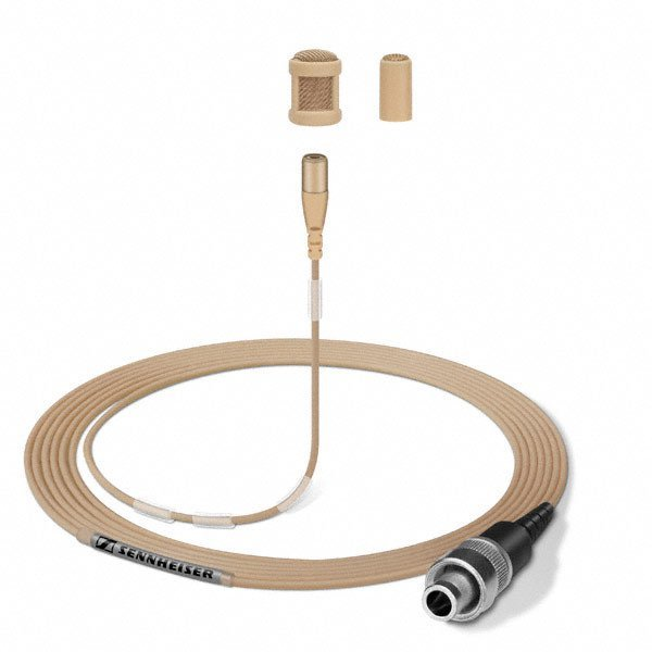 Beige Lavalier Microphone with Clip and Case