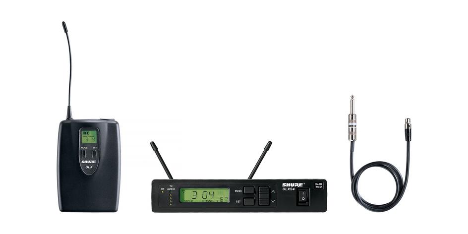 Wireless Instrument Bodypack System, ULX1 Bodypack Transmitter, WA302 Instrument Cable, 554-590 MHz