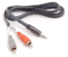 """Audio Y-Cable, Stereo 1/8"""" Male to Dual RCA Male, 6 Feet"""