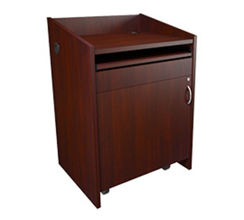 "L2 Series Lectern, 28""W, 25""D, Grained Dark Cherry Finish, with Connectivity"