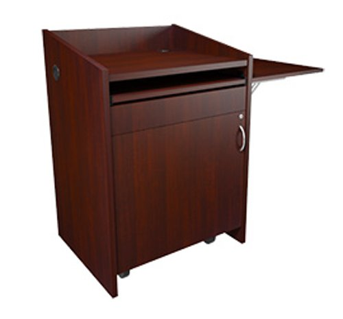 """L2 Series Lectern, 28""""W 25""""D, Grained Dark Cherry Finish, with Connectivity and Flip Up Shelf"""