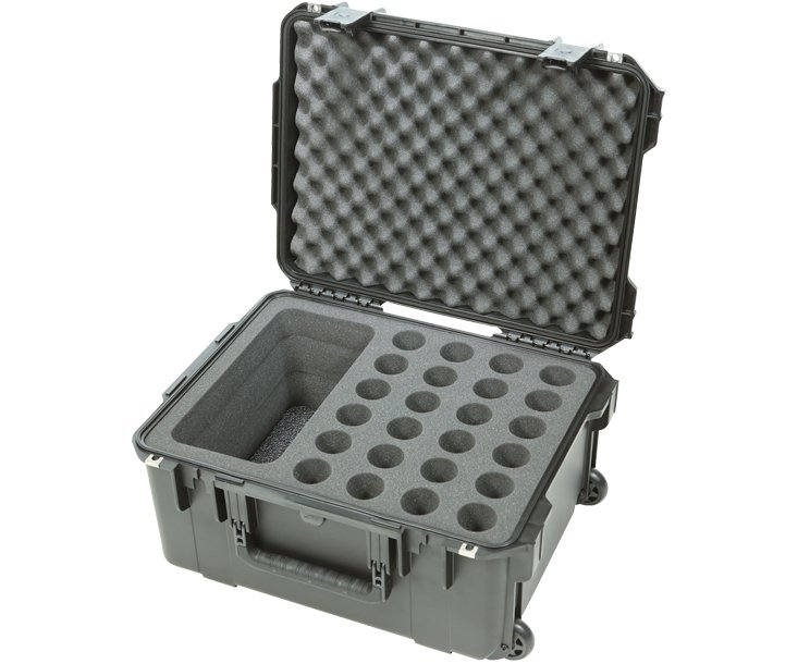 Waterproof Case With Extra Storage and Wheels, Holds 24 Mics