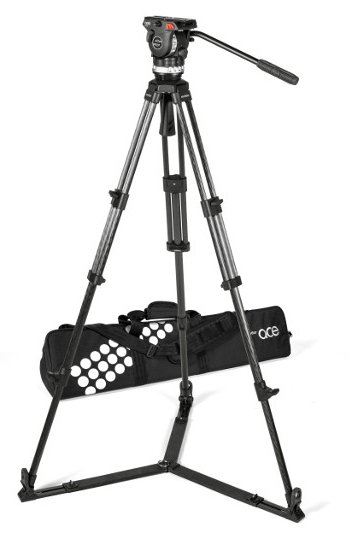 Tripod System with Ace XL Fluid Head, Ace 75/2 CF Tripod, SP 75 Ground Spreader, Padded Bag