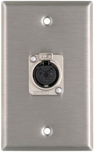 Plateworks Single-Gang Black Anodized Aluminum Wall Plate with (1) 5-Pin XLR-F Connector for DMX