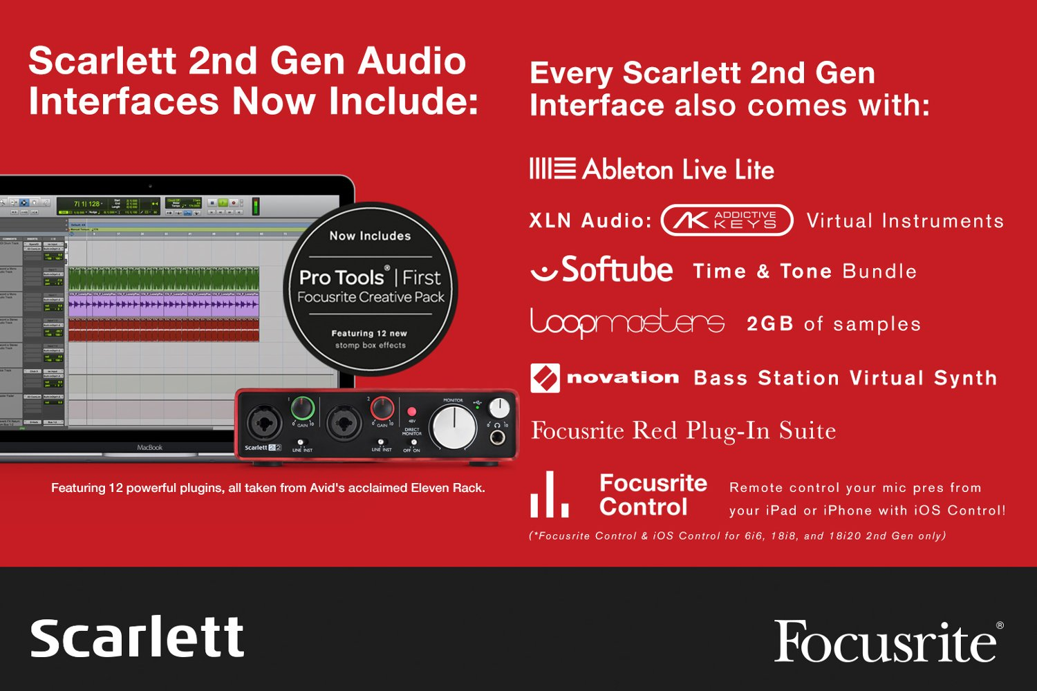 Focusrite Scarlett 2i2 Studio (2nd Gen) 2x2 USB 2.0 Audio Interface with Mic/Phones/Cable Pack SCARLETT-STUDIO-V2