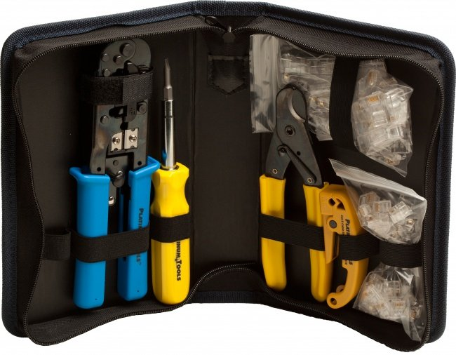 Tool Kit with Crimp Tool, Connectors, and Zippered Case
