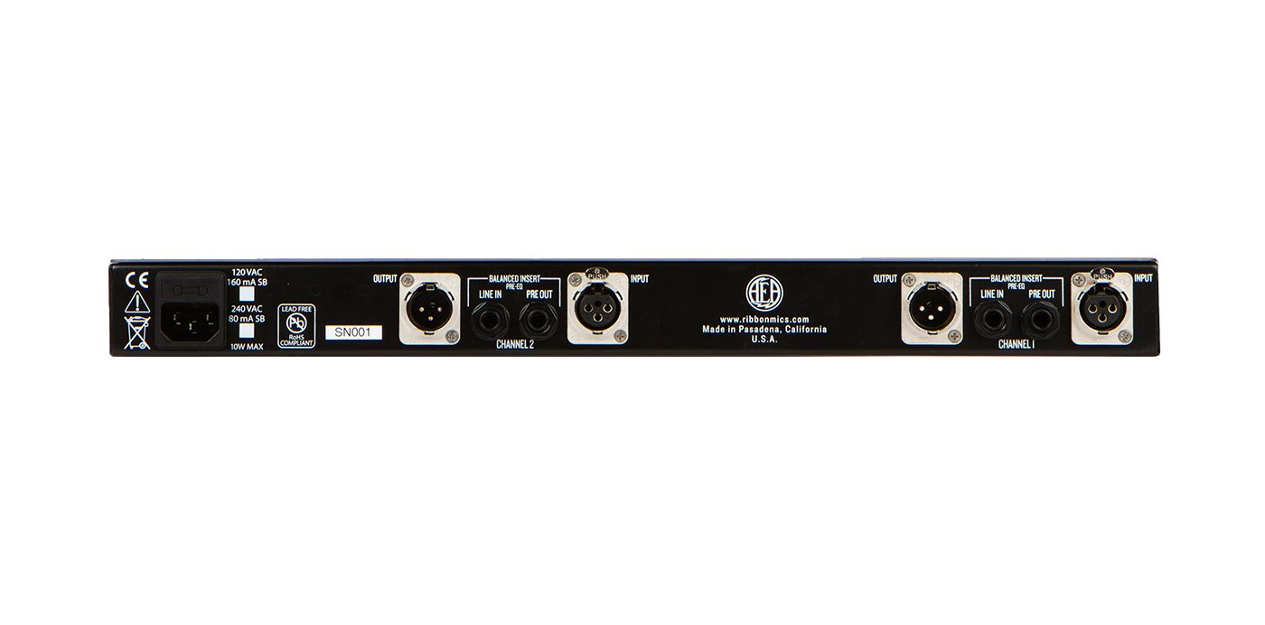 2-Channel Preamp 1RU Ribbon Mic Preamp with EQ and DI
