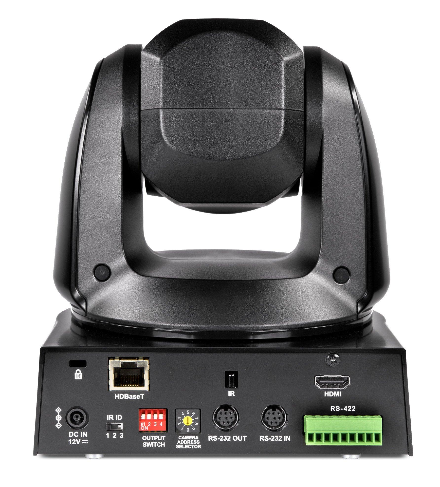 4K HDBaseT and HDMI PTZ 12x Optical Zoom Camera in Black