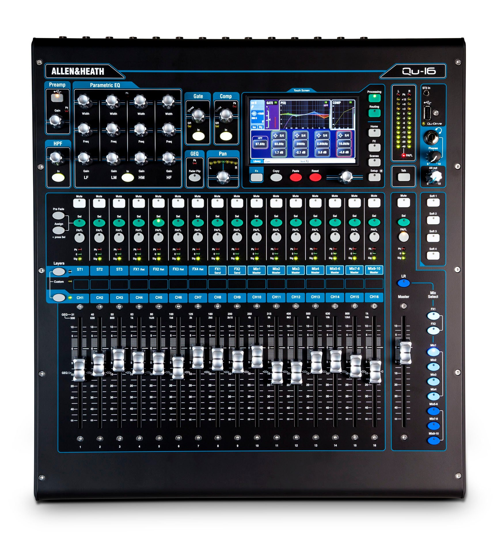 Qu Series Chrome Edition 22-in/12-out Rackmountable Digital Mixer