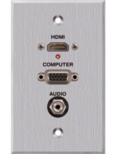 Panelcrafters Clear Anodized Single Gang Wall Plate with HDMI Pigtail, VGA, and 3.5mm TRS Female Pass Through