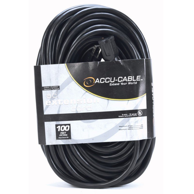 100 ft 12 Gauge AC Power Extension Cable