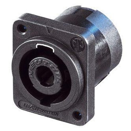 4-Pin speakON Male Panel Connector with Black D-Size Flange