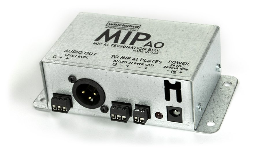 MIPAI Termination Box with Screw Terminal I/O, XLRM Output, and Power Supply