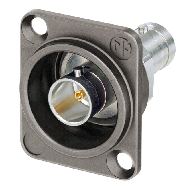 Grounded UHD BNC Panel Connector, Feedthrough in Antraloy Plated D-Shape Housing
