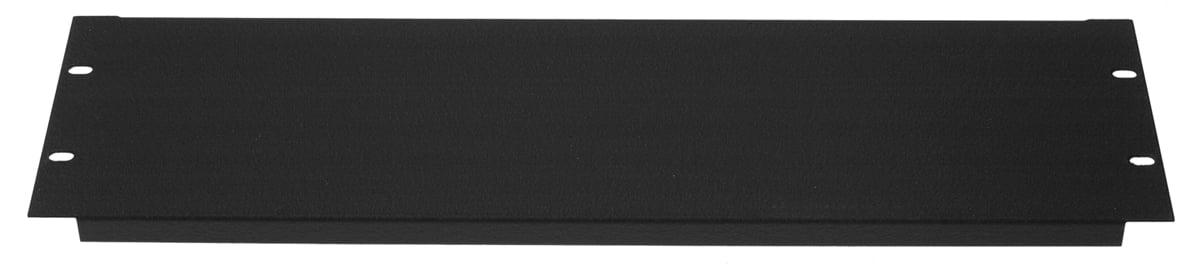 3RU Blank Aluminum Flanged Panel, Black Wrinkle Finish