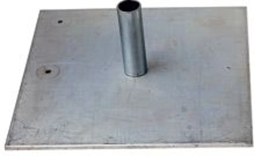 "Steel Low Profile Base for Pipe and Base 1.0 and 2.0 Systems, Heavy 18"" x 18"" x 3/8"", 35 lbs , 8"" Pin"