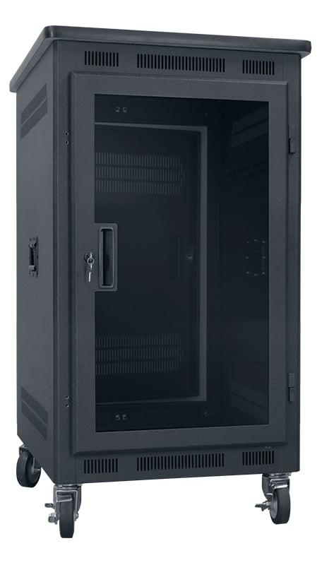 """14RU, 22"""" Deep Portable Rack with Plexiglass Door and Premium Top"""