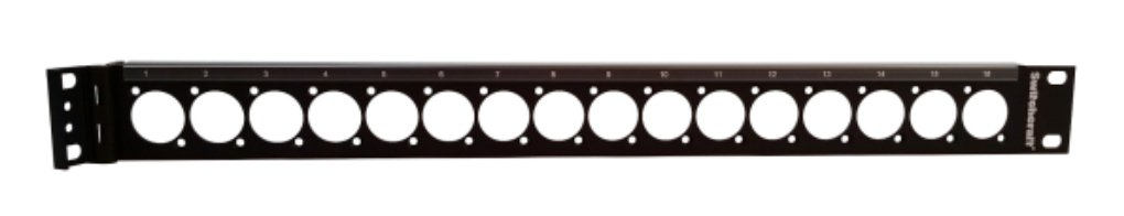 """1RU Empty Hinged Q-G Panel with 16 """"E"""" Knockouts"""