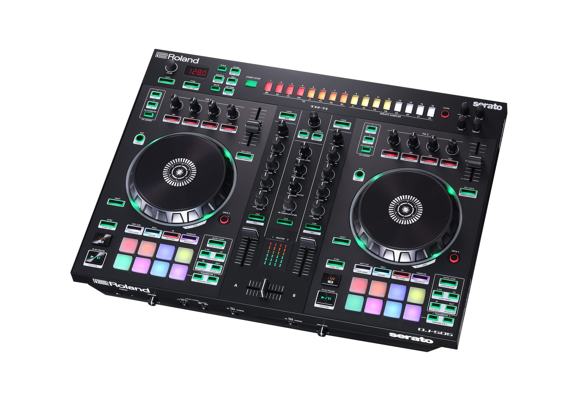 2-Channel Serato DJ Controller with Drum Machine & Sequencer