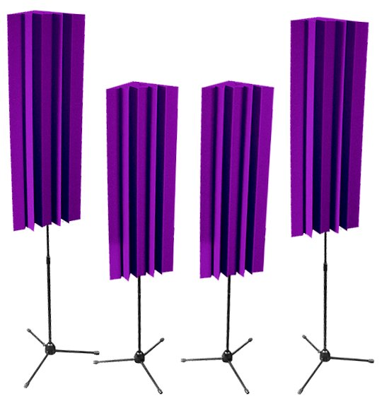 4 Pack of 4 ft LENRD Stand-Mount Bass Traps in Purple
