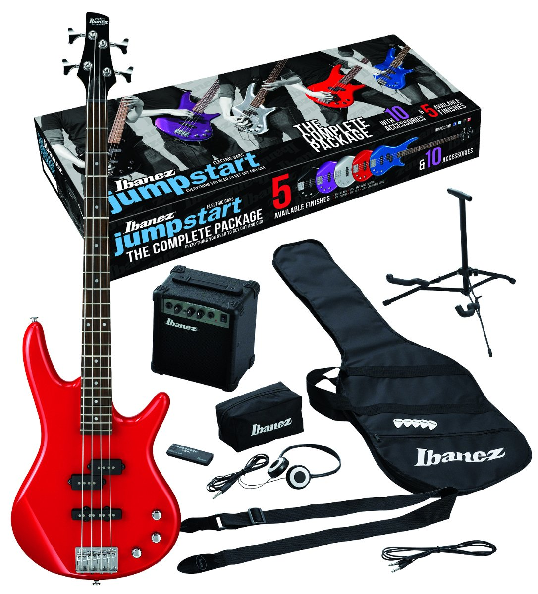 Jumpstart Electric Bass Package with Red Electric Bass