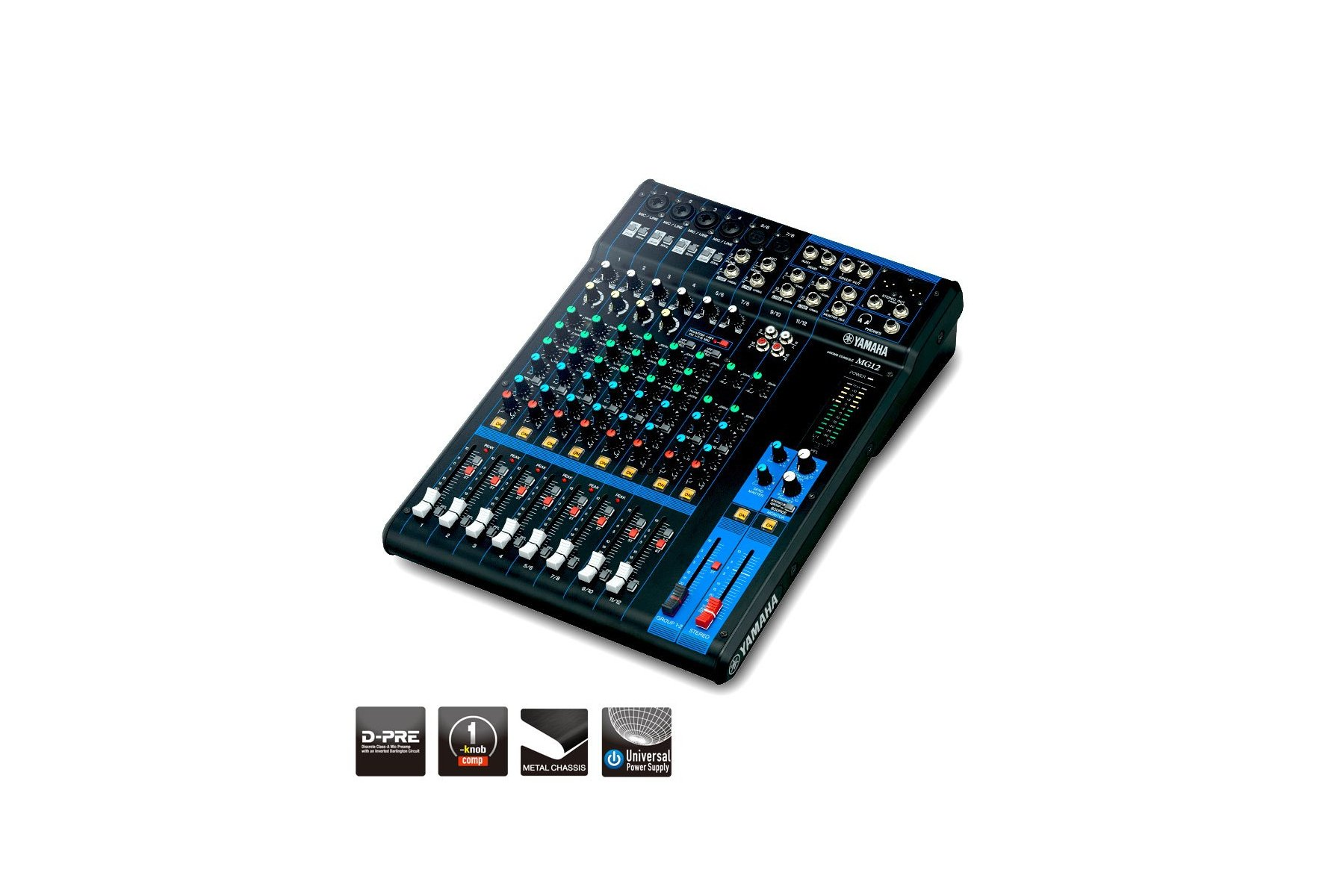 12 Input/4-Bus Analog Audio Mixer