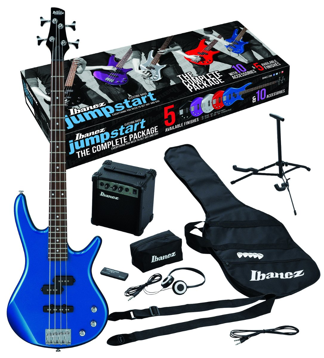 Ibanez IJXB150BSLB Jumpstart Electric Bass Package with Starlight Blue Electric Bass IJXB150BSLB