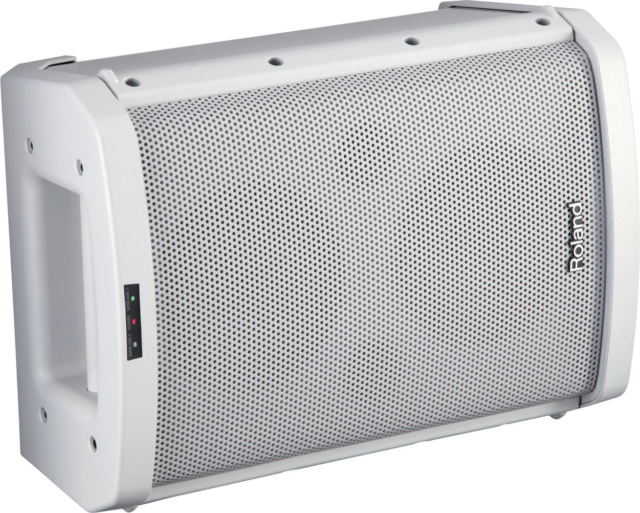 White Portable Battery-Powered Amplifier with Wireless Microphone