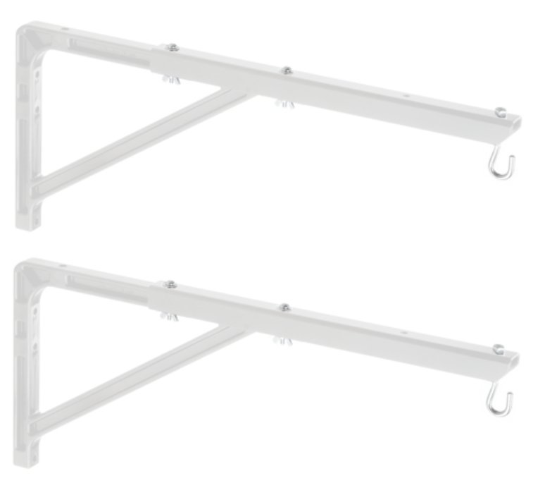 Pair of White No. 23 Wall Brackets with Extensions