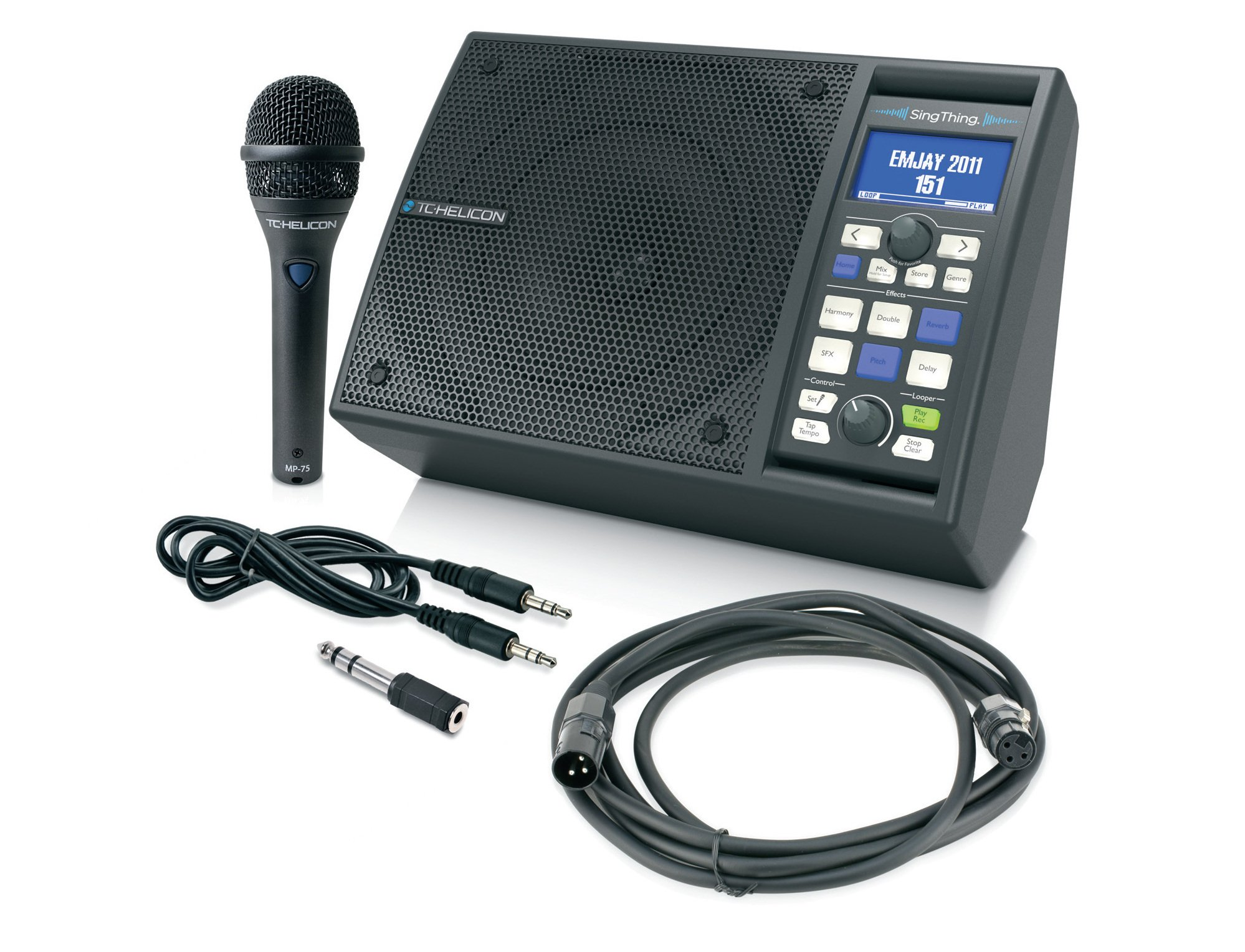 All-In-One Vocal Processor with Speaker, Microphone, and Cables