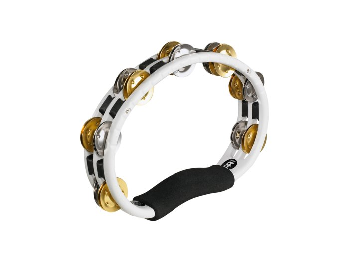 Meinl Percussion TMT1M-WH Handheld Recording Combo ABS Tambourine with 2 Rows of Dual Alloy Jingles TMT1M-WH