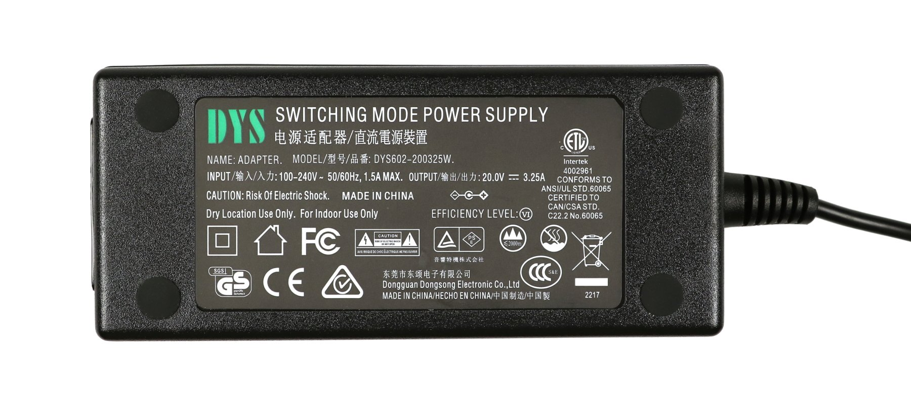 20vdc 3.25a AC Adaptor for FreePlay