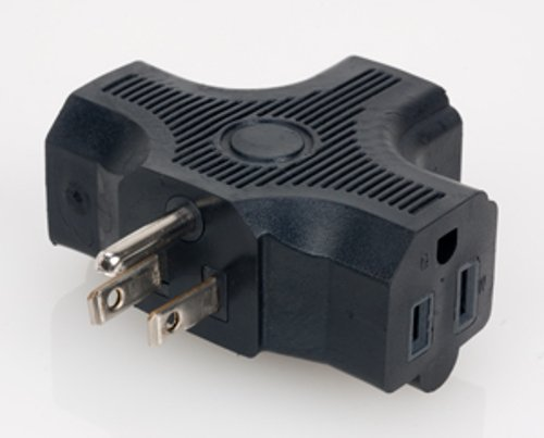 Edison Single to Triple Power Adapter, UL Listed, 120V