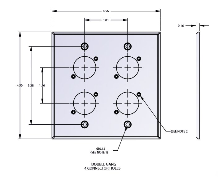 2 Gang Wall Plate with 4 E/EH Connector Holes in Black Finish