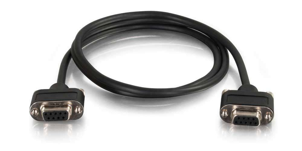 50 ft RS-232 Data Cable with Low Profile Connectors DB9 Female Connectors