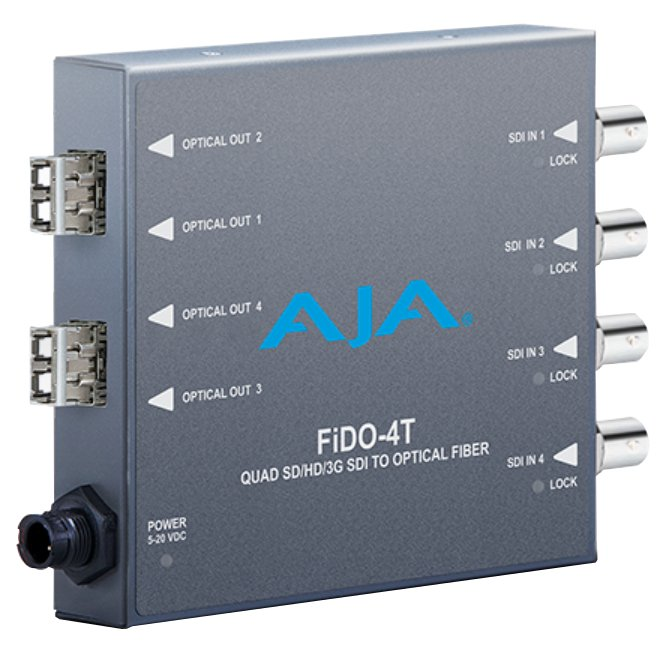AJA Video Systems Inc FiDO-4T-MM  4-Channel 3G-SDI to Multi-Mode LC Fiber Transmitter  FiDO-4T-MM