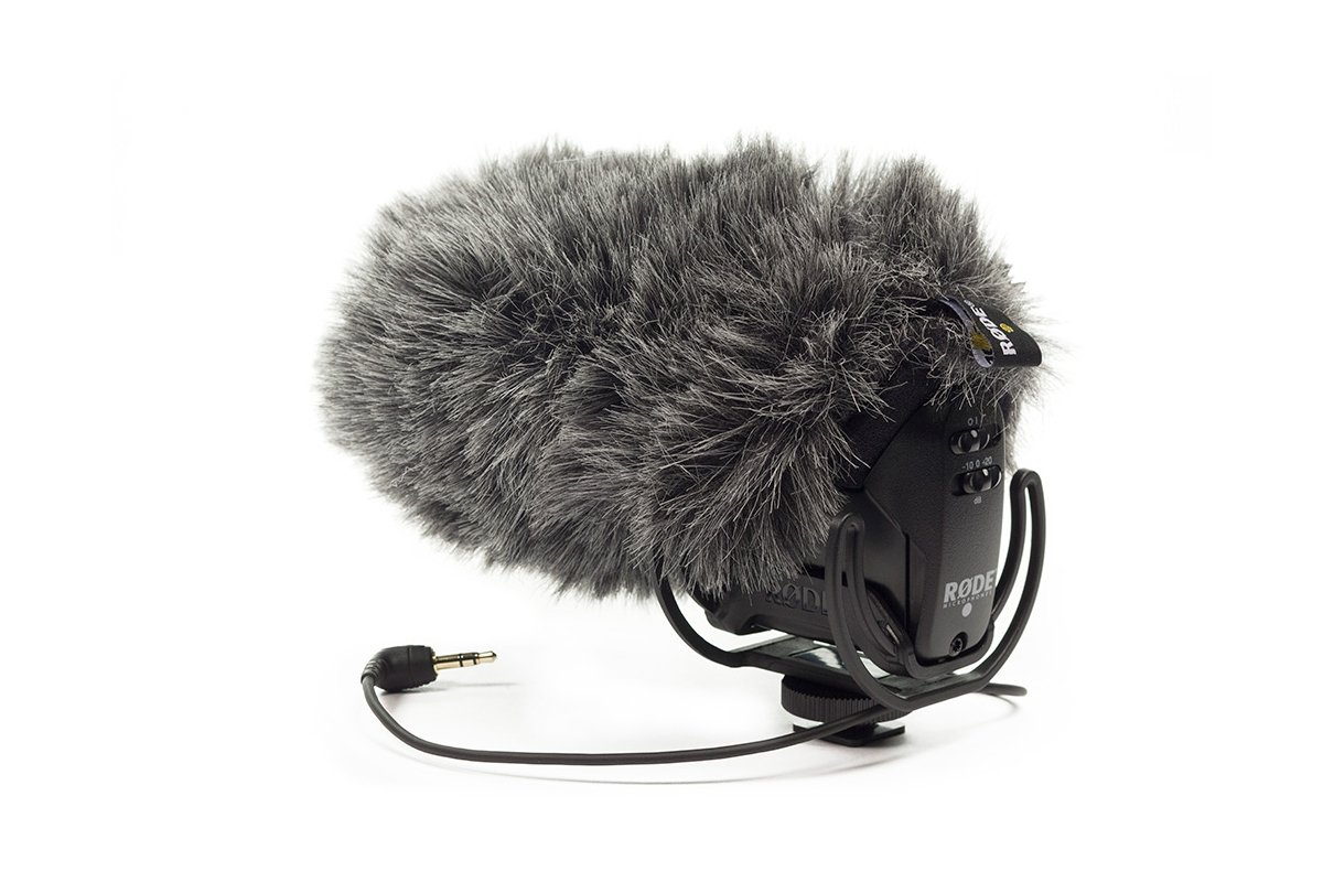 On-Camera Mic with Rycote Lyre Shock Mount plus Deadcat VMPR
