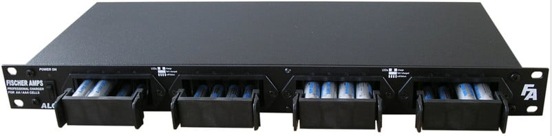 "Fischer Amps 19"" Rackmount 16x AA/AAA Charging Station with 4 Free 4-Packs of Max E Pro AA Batteries"