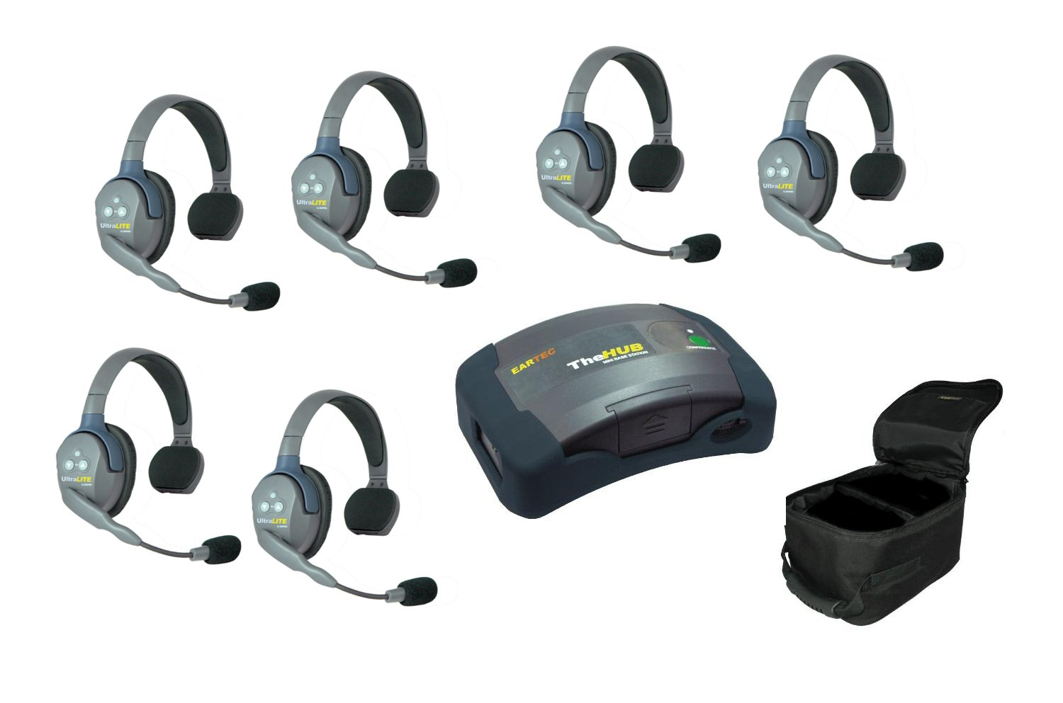 HUB/UltraLITE Full Duplex Intercom System with 6 Single Headsets, Batteries & Case