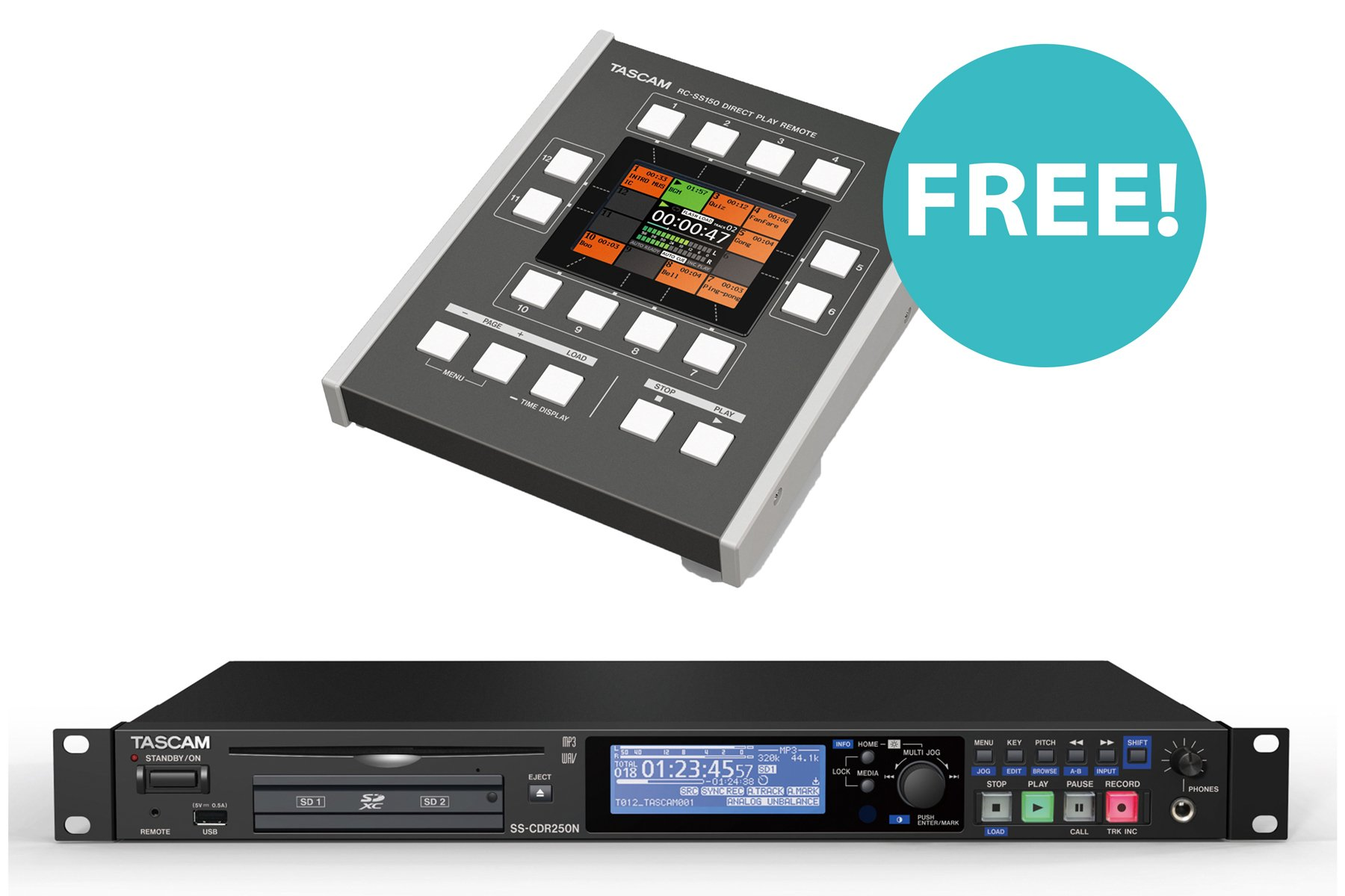 SS-CDR250N CD/Media Recorder with FREE RC-SS150 Flash Remote Controller