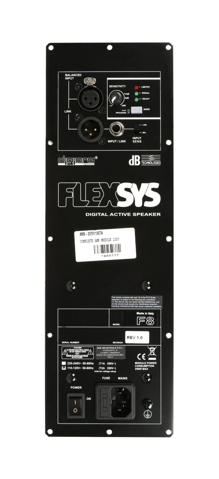 DB Technologies 207011007A FLEXSYS F8 Complete Amp Assembly 207011007A