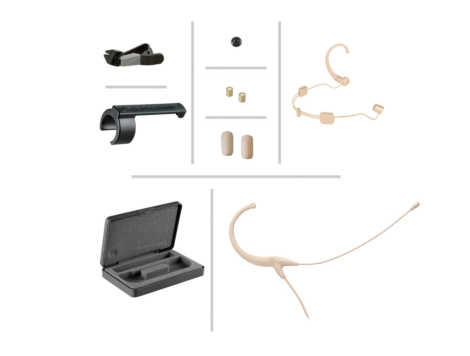 Headworn Omnidirectional Microphone with 3.5mm Locking Connector, Beige