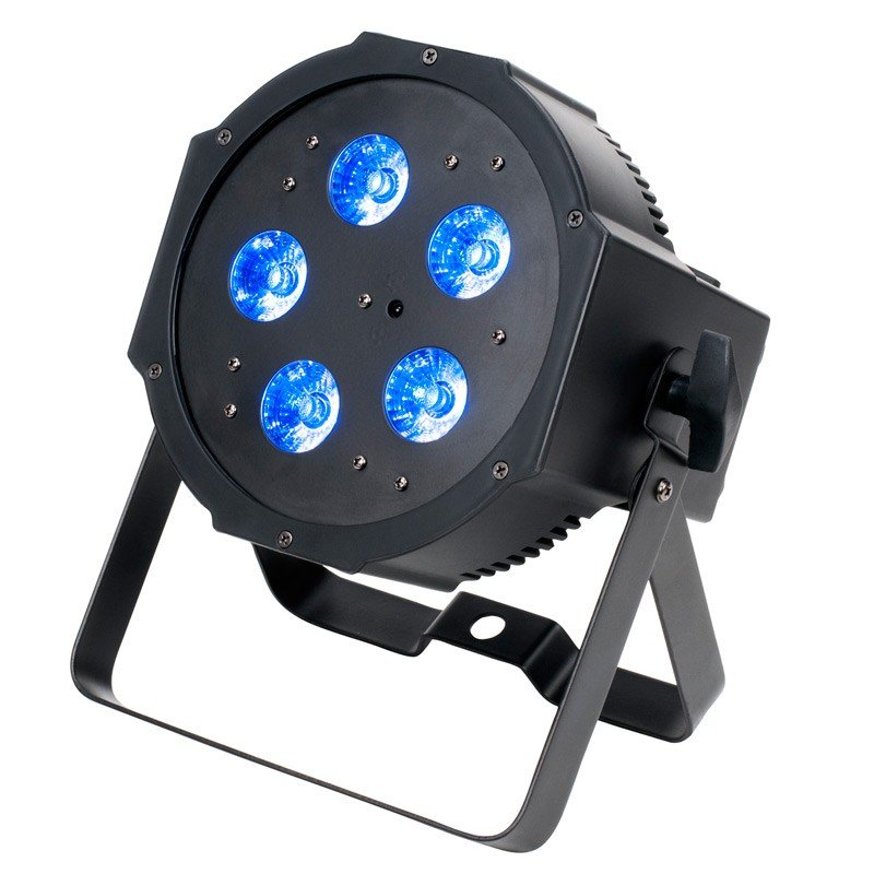 5 x 4W - 4 in 1 RGB + UV Compact LED Par with DMX and Compact Battery