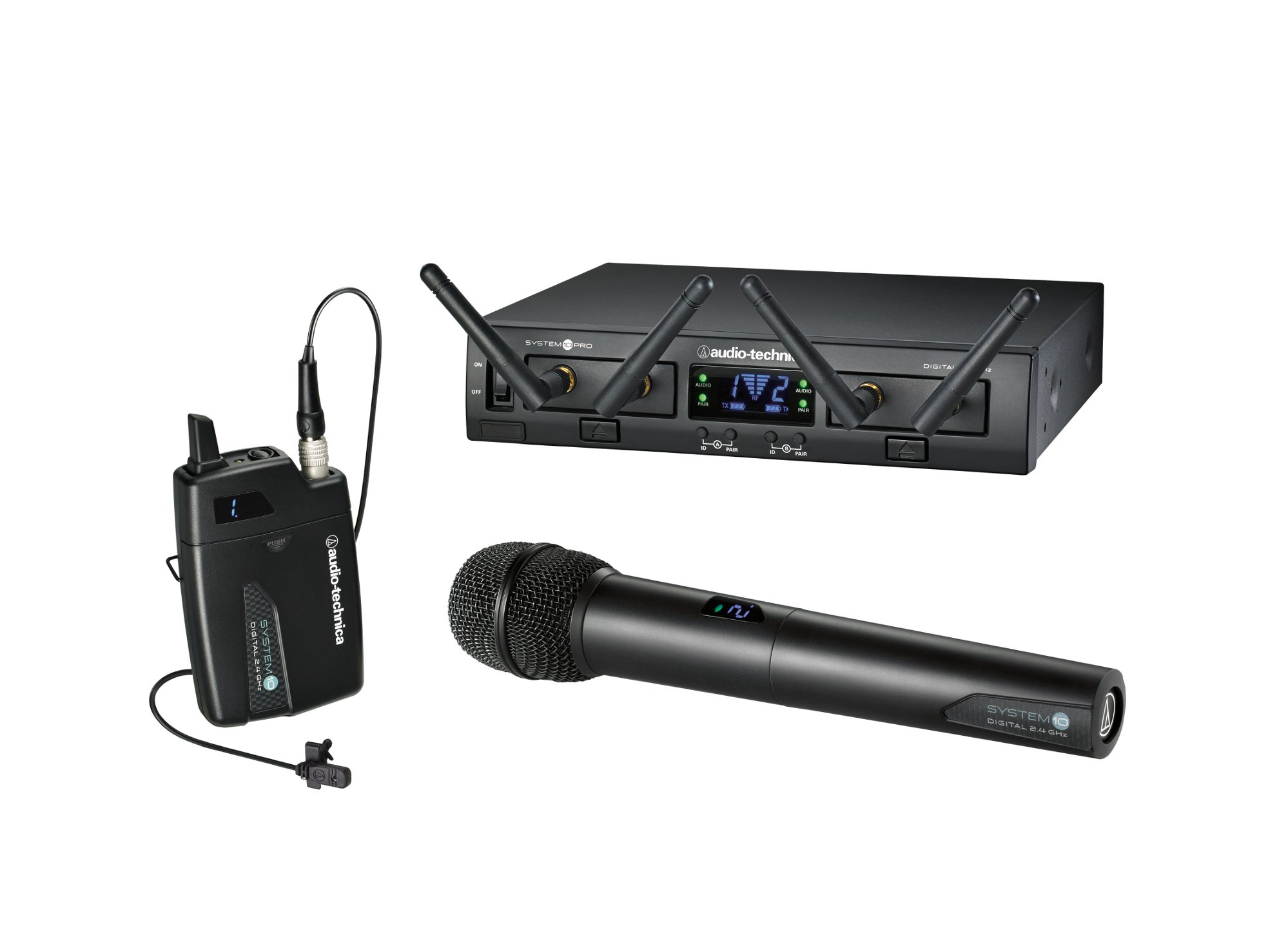 System 10 PRO Rackmount Dual-Channel Digital Wireless System with (1) ATW-T1001 Bodypack Transmitter, (1) MT830cW Lavalier Mic and (1) ATW-T1002 Handheld Mic/Transmitter