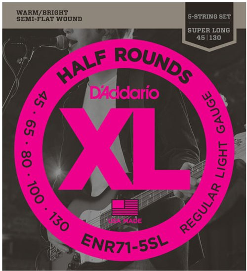 """.045-.130"""" Half Round Super Long Scale 5-String Electric Bass Strings"""